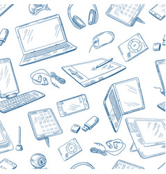 different computer devices in hand drawn style vector image