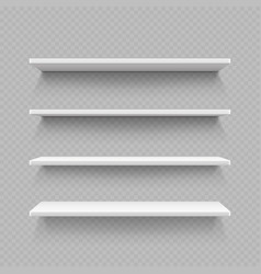 empty white shop shelf isolated on transparent vector image vector image