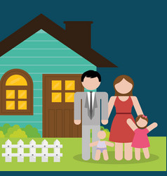 Family home parents and kids vector