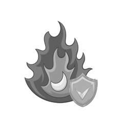 Fire insurance icon black monochrome style vector