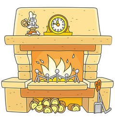 Fireplace with burning firewood vector