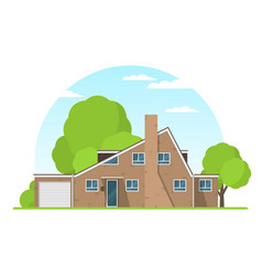 Frontview of english style suburban private house vector
