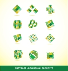 Green logo design elements set vector image vector image