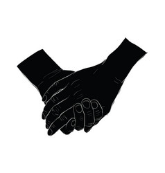 Hand holding hand vector