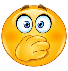 hand on mouth emoticon vector image