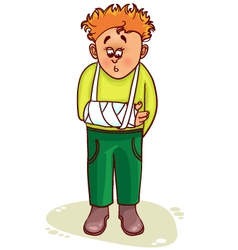 Ill little man with broken arm vector image