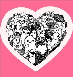 kawaii heart cartoon vector image vector image