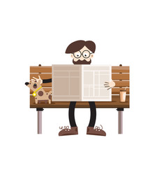 Man reading newspapers on bench with dog retro vector