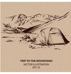 Outdoor trip to the mountains vector