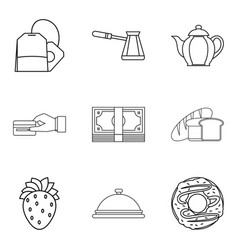 Piece of bread icons set outline style vector
