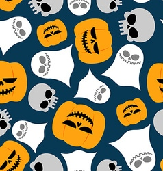 Pumpkin Ghost and skull seamless pattern vector image vector image