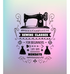 sewing classes poster flyer vector image