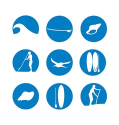 stand up paddling silhouette icon set in vector image