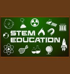 Stem education poster with icons on board vector