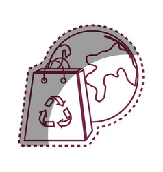 Sticker planet and bag to recycle environment vector