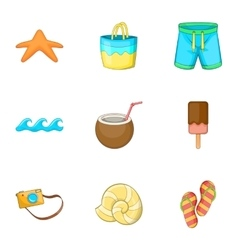 Summer beach icons set cartoon style vector image