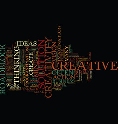 Ten roadblocks to creative success text vector