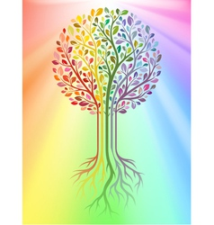 Tree on rainbow background vector