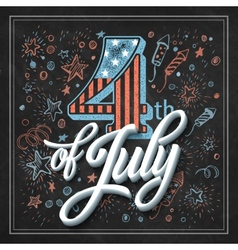 Typography card Independence Day Chalk board vector image vector image