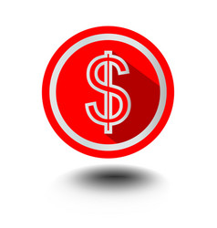 Usd dollar symbol of american currency in red vector