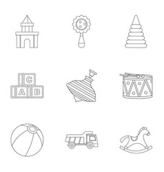variety of children toys icon set outline style vector image vector image