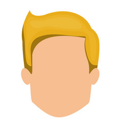 White background of faceless man with blonde hair vector