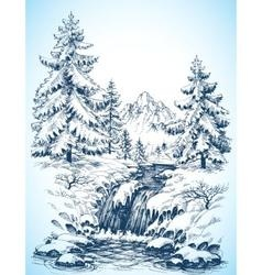 Winter snowy landscape pine forest and river in vector