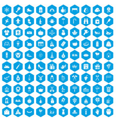 100 family tradition icons set blue vector image