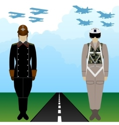 Old and modern military uniforms russian pilots vector