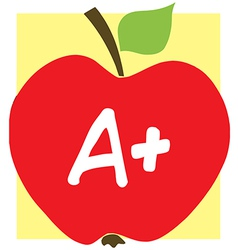 Red a plus school apple and background vector