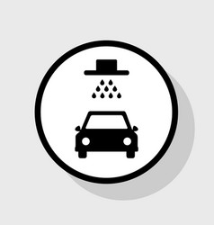 car wash sign  flat black icon in white vector image