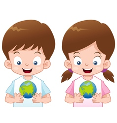 Kids with globe vector