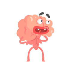 Surprised scared humanized cartoon brain character vector