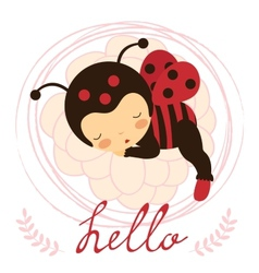 Beautiful ladybug baby card vector