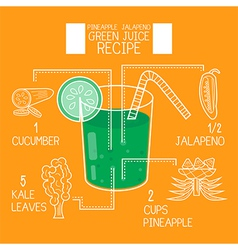 Pineapple jalapenogreen juice recipes great detox vector
