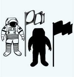 Astronaut and flag vector
