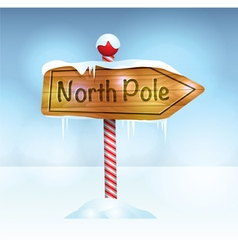 North pole christmas wooden sign vector