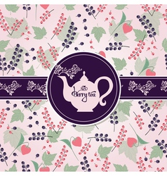 Teapot with berry pattern vector