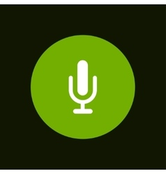 Modern microphone icon in green circle vector