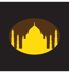 Modern flat icon with black background indian taj vector
