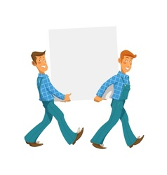 Two mans carry empty plate vector