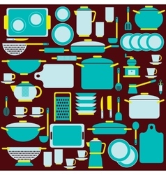 Kitchenware in blue colors vector