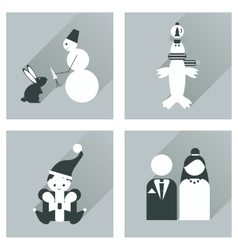 Set of flat icons with long shadow winter icon vector