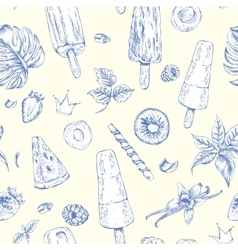Summer natural eco food seamless pattern vector
