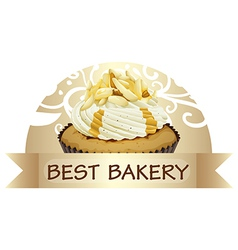 A best bakery label with a cupcake vector