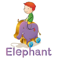 a boy on a toy elephant vector image vector image