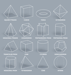 abstract 3d math geometric outline shapes vector image