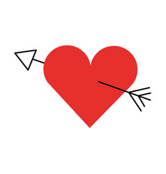Amour symbol with heart and arrow icon vector