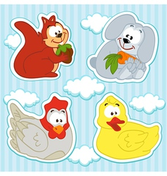 animal and bird icon set vector image vector image