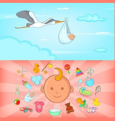 Baby born banner set horizontal cartoon style vector